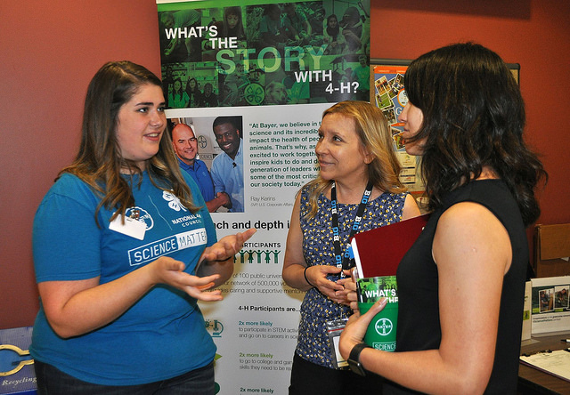 Sophia New (left) is one of 15 youth from Johnson County, Kansas who participated in Science Matters, a program created by Bayer and National 4-H to help youth explore science-related careers in agriculture.