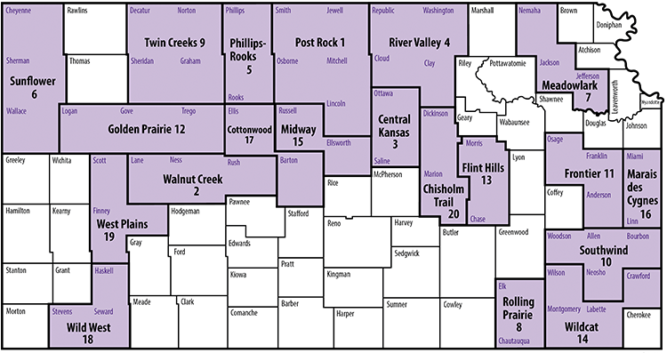 map showing Kansas counties and extension districts