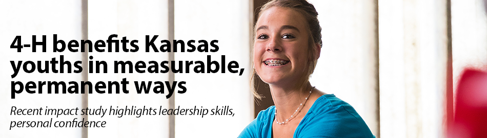 4-H benefits Kansas youths in measurable, permanent ways. Image of girl smiling.