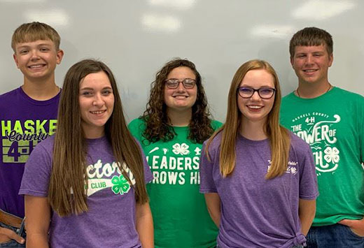 Five youth standing, Haskell 4-H ambassadors