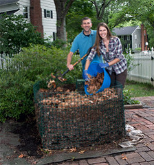 Couple at compost bin