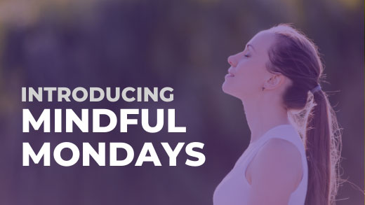 Graphic, Introducing Mindful Mondays and woman taking deep breath
