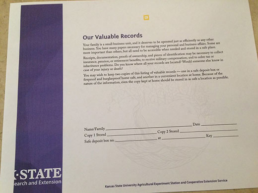 Handout, Our Valuable Records from K-State Research and Extension