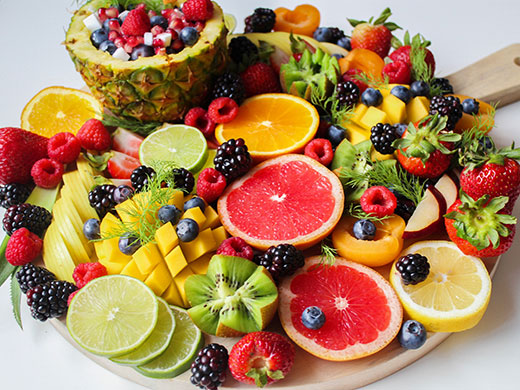 Sliced fruit on a tray